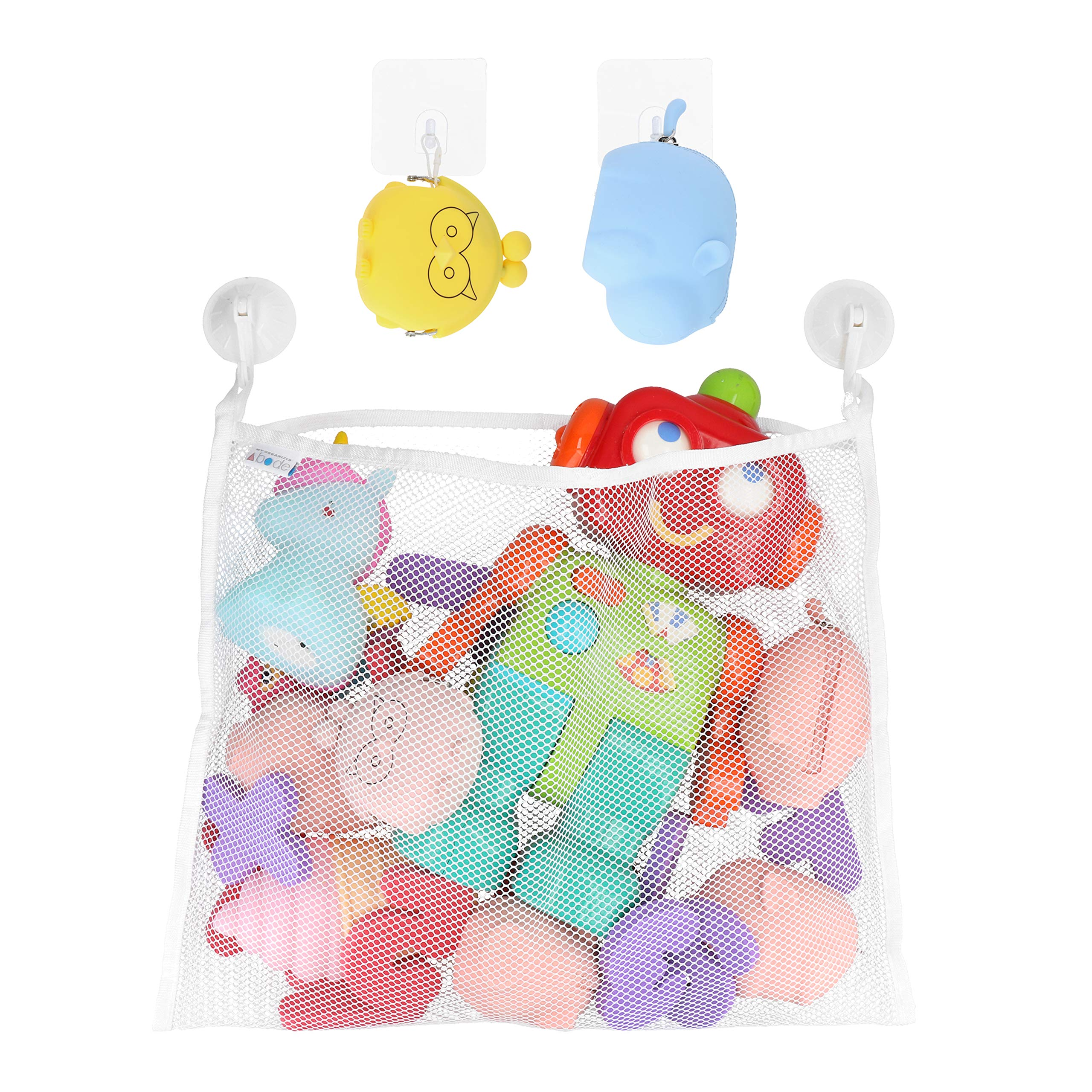 Bath Toy Organizer - Suction Cup Hooks + Adhesive Hooks - Mesh Bag Mould Free Shower Caddy