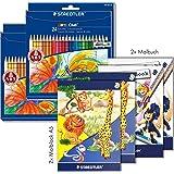 Staedtler Buntstifte Noris Club Set 24 Farben - brillante Farben, leicht zu spitzen; 2 Etuis - 144 NC24 im Sparbundle mit 2 Malblöcken A5 und 2 Malbüchern