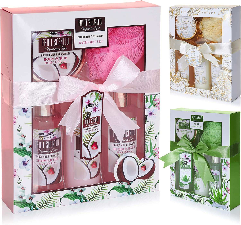 BRUBAKER Cosmetics Set de Baño y Ducha Coco y Fresa - Juego de 5 piezas para regalo