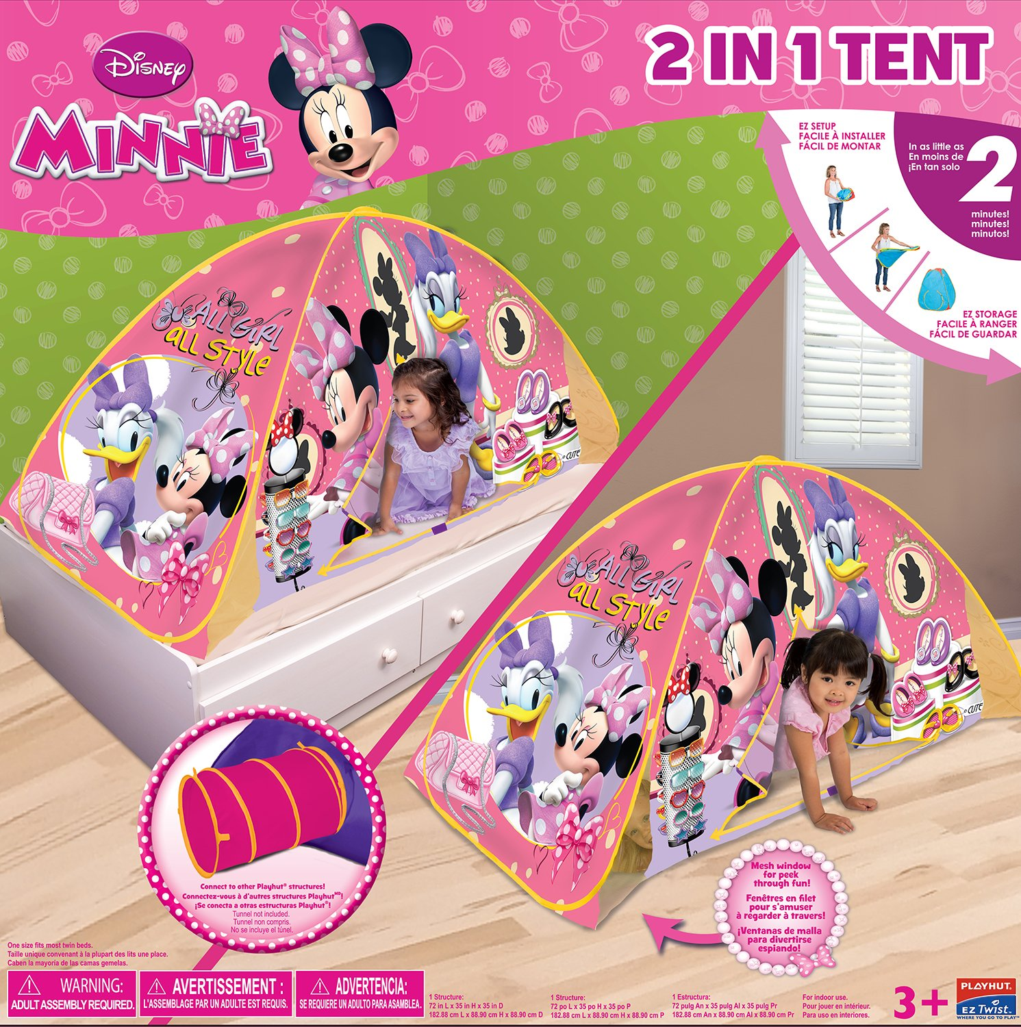 sc 1 st  Amazon.com & Amazon.com: Playhut Minnie Mouse Bed Tent Playhouse: Toys u0026 Games