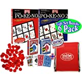 """Pokeno (Po-Ke-No) Original Red, Pokeno 2 Blue, Red & Blue Standard Playing Cards, 250 Red 3/4"""" Bingo Markers & Exclusive """"Matty's Toy Stop"""" Storage Bag Deluxe Gift Set Bundle - 6 Pack"""