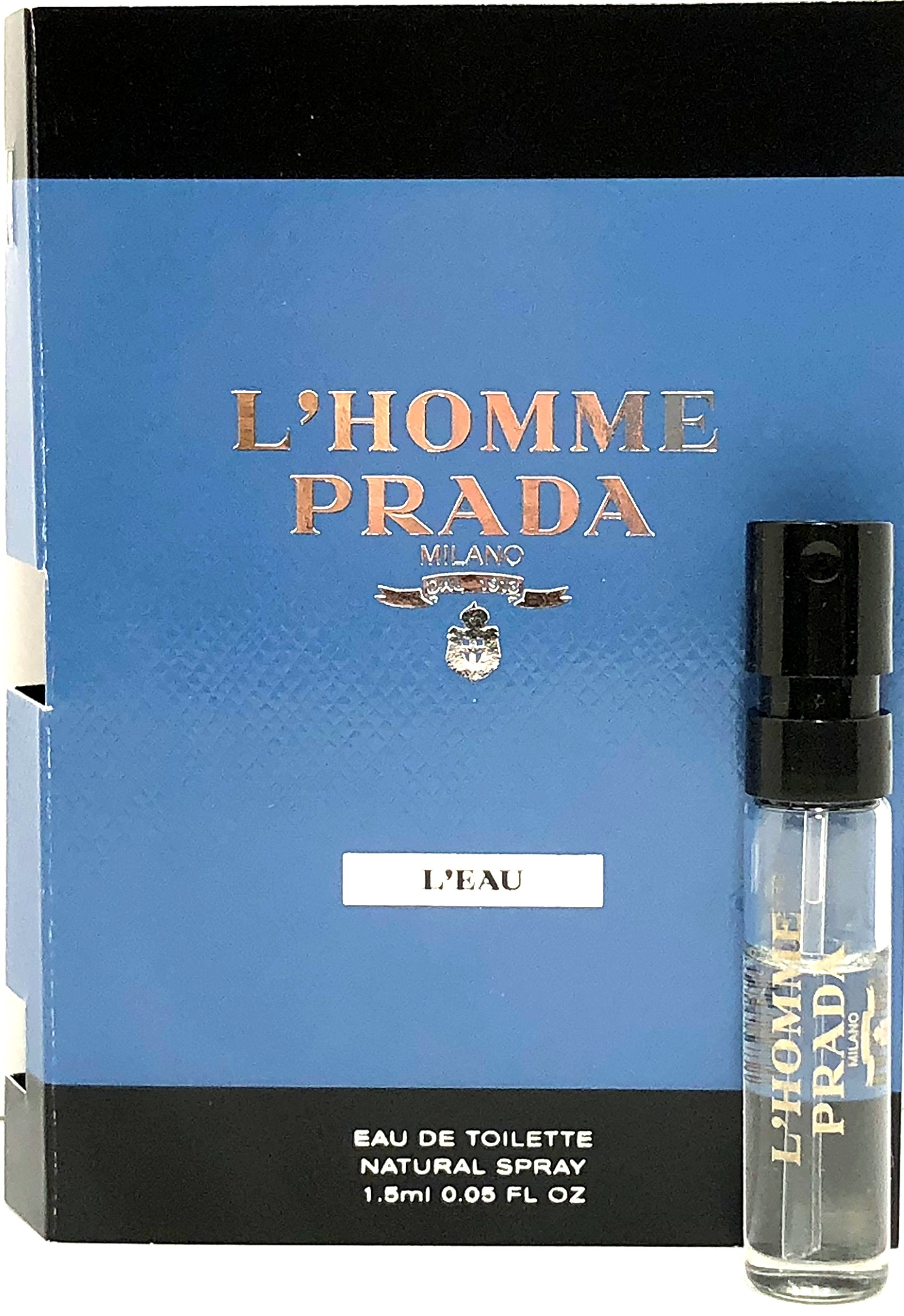 Prada L'Homme L'Eau Eau De Toilette Mini Spray Vial For Men 0.05 Oz/1.5 ml Sample Size