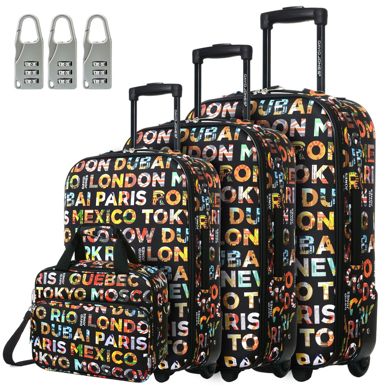 DAVIDJONES Vintage Print 4 Piece Luggage Set-Lettre capitales