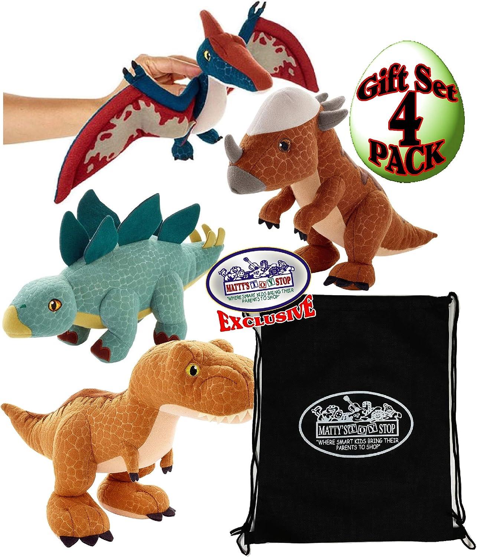 "Jurassic World Dino (Dinosaur) 11"" Plush Tyrannosaurus Rex (T-Rex), Stegosaurus, Pteranodon & Stygimoloch (Stiggy) Gift Set Bundle with Matty's Toy Stop Storage Bag - 4 Pack"