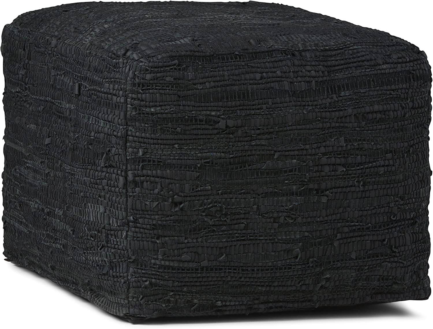 SIMPLIHOME Fredrik Square Pouf, Footstool, Upholstered in Black Woven Leather, for the Living Room, Bedroom and Kids Room, Transitional, Modern