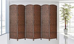 Legacy décor Room Divider Privacy Screen Bamboo Fiber (Brown, 6 Panel)