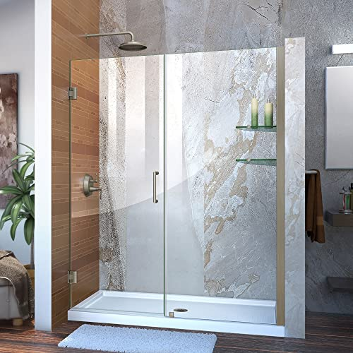 DreamLine Unidoor 59-60 in. W x 72 in. H Frameless Hinged Shower Door with Shelves in Brushed Nickel, SHDR-20597210S-04