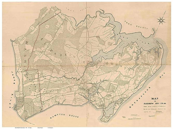 Amazon Com Elizabeth City County Virginia 1892 Wall Map With