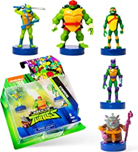 NINJA TURTLES Teenage Mutant Stampers, Set of 5 – Self-Inking Washable Stamps Double as playable Figures, Party Supplies – Quality Gifts for Ages 3+ by PMI, 2.5 in. Tall
