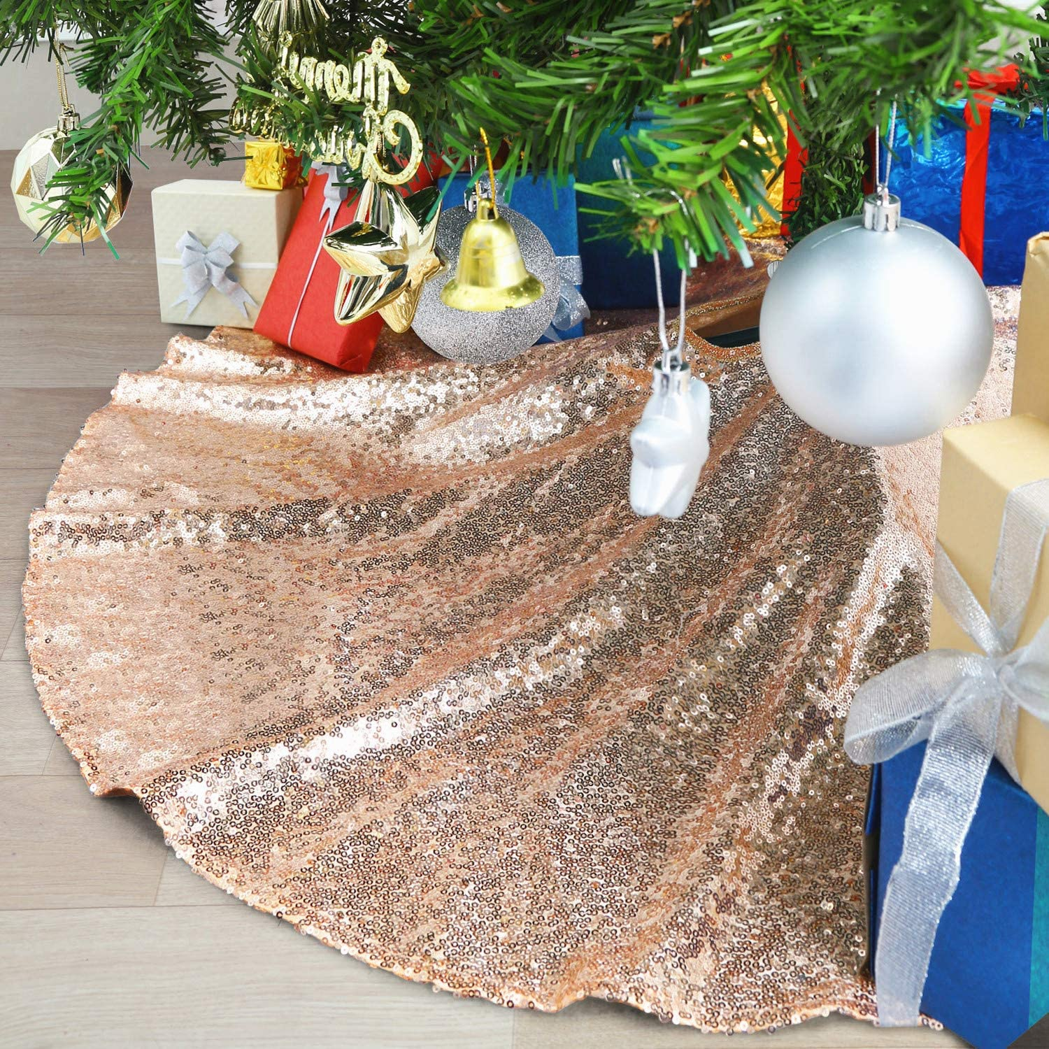 Amazon Com B Cool Sparkly Sequin Tree Skirt Rose Gold Christmas Sequin Tree Skirt Handmade Home Christmas Tree Decoration 48 Inch Round Home Kitchen