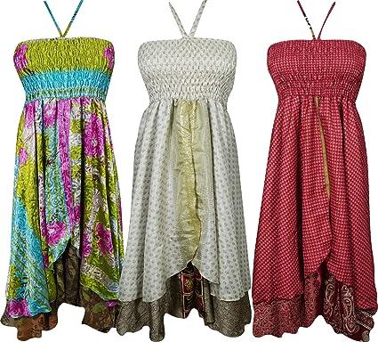 Mogul Interior Wholesale Lot Of 3 Pcs Womens Halter Dress Recycled Silk Sari Vintage Two Layer