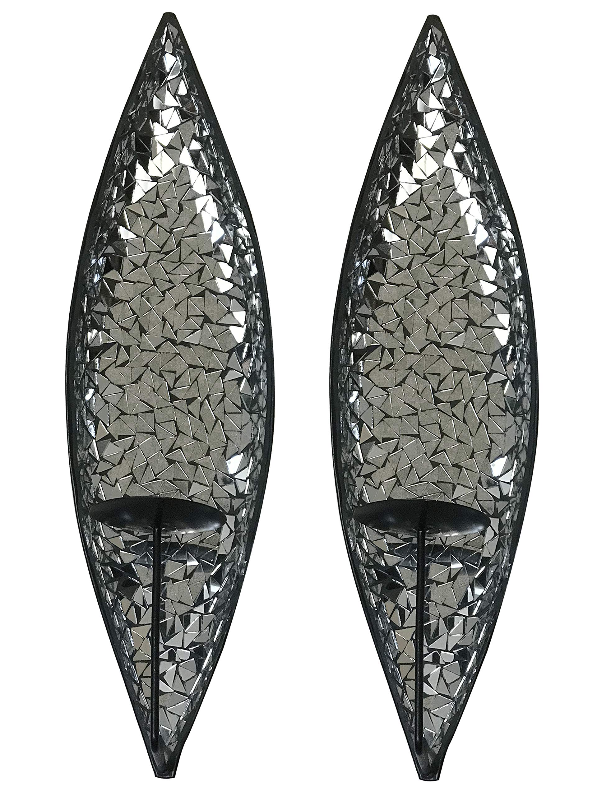 DecorShore ''Bella Palacio'' Mirrored Glass Mosaic & Metal Wall Mounted Decorative Candle Holder Wall Sconce, Set of 2 Large Size 18 in. Light Weight Wall Decor