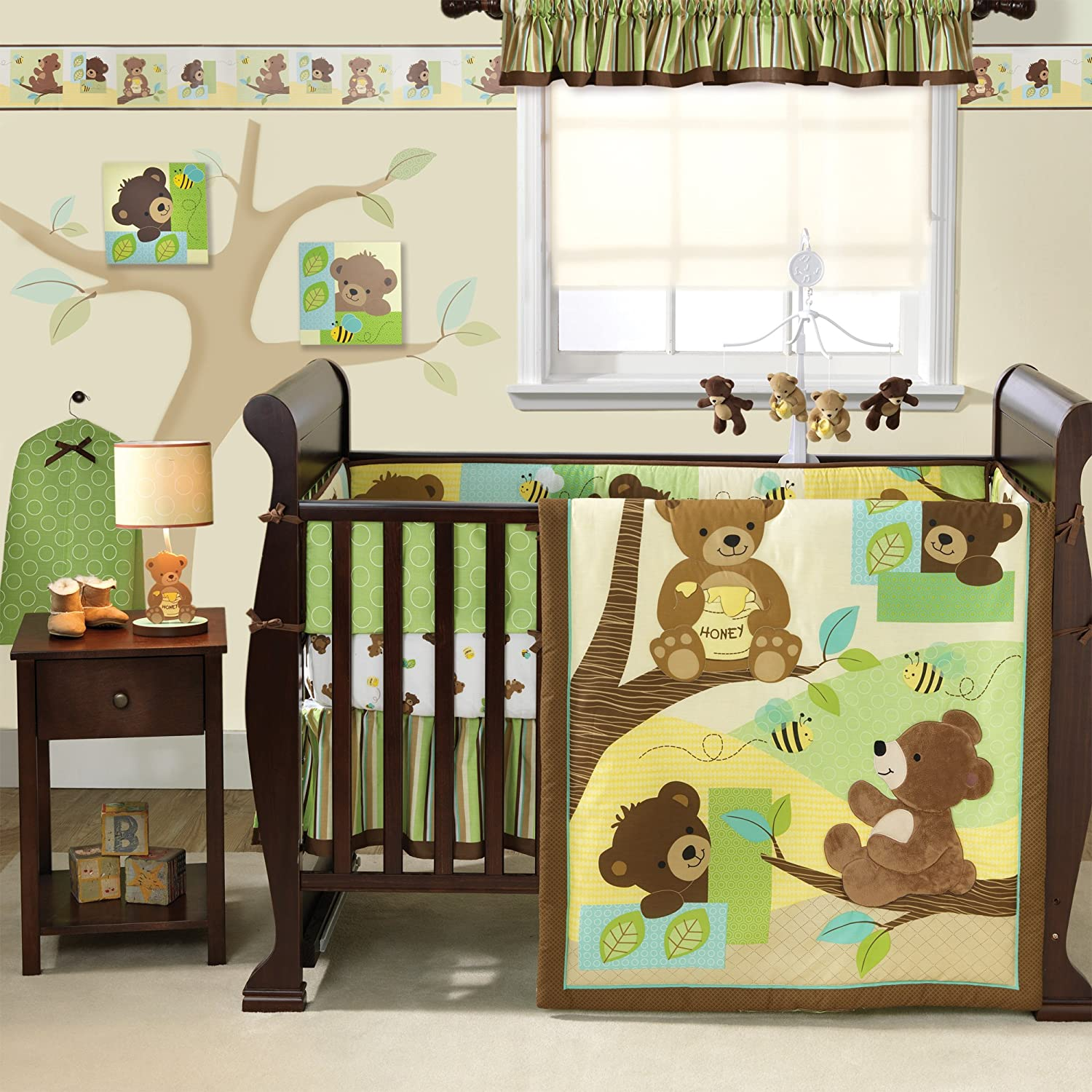 Design Baby Bed Set amazon com bedtime originals honey bear 3 piece crib bedding set browngreen baby