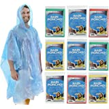 Emergency Rain Poncho with Hood - One Size Fits All - Rain Poncho Survival Kit Accessory for Travel Trailblazing Picnics Camping School Sporting Corporate Events (Pack of 10)