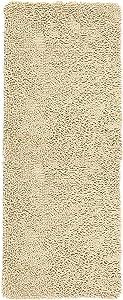 Lavish Home Memory Foam Shag Bath Mat 2-feet by 5-feet - Ivory