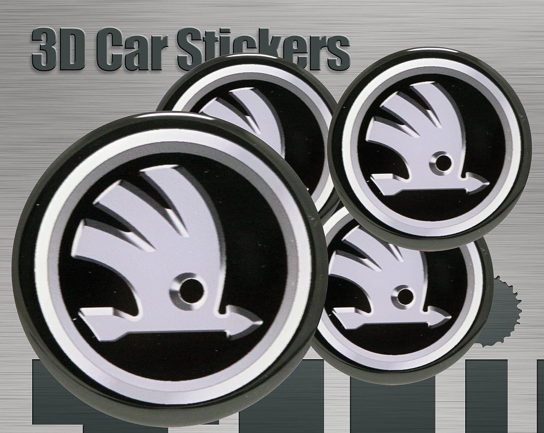 Think Ink Adesivi 3D Stickers 4 Pezzi Logo Skoda Nuovo Argento Imitazione Tutte Le Dimensioni Centro cap Wheel Coprimozzo (50 mm)