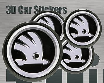 3D Stickers 4 pcs Logo Imitation Center Cap Wheel Trims 53 mm.