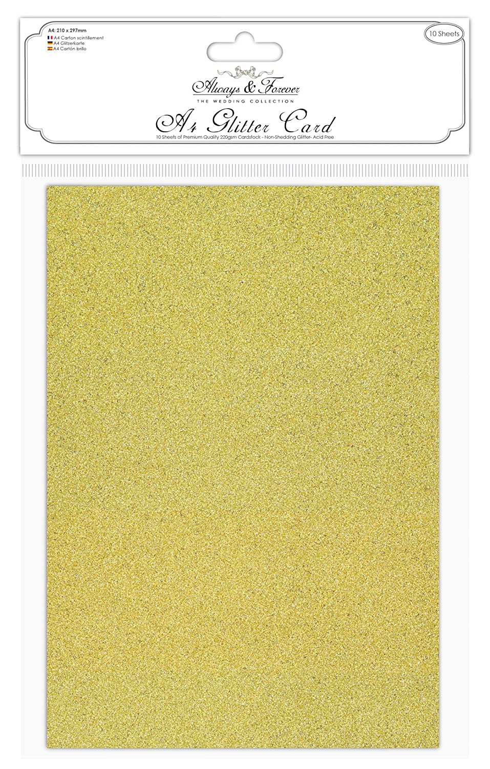 Gold Glitter Card A4 soft touch low shed excellent quality various pack sizes