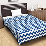 Divine Casa Natty Abstract Microfibre Reversible Single Dohar/Blanket -Blue and White