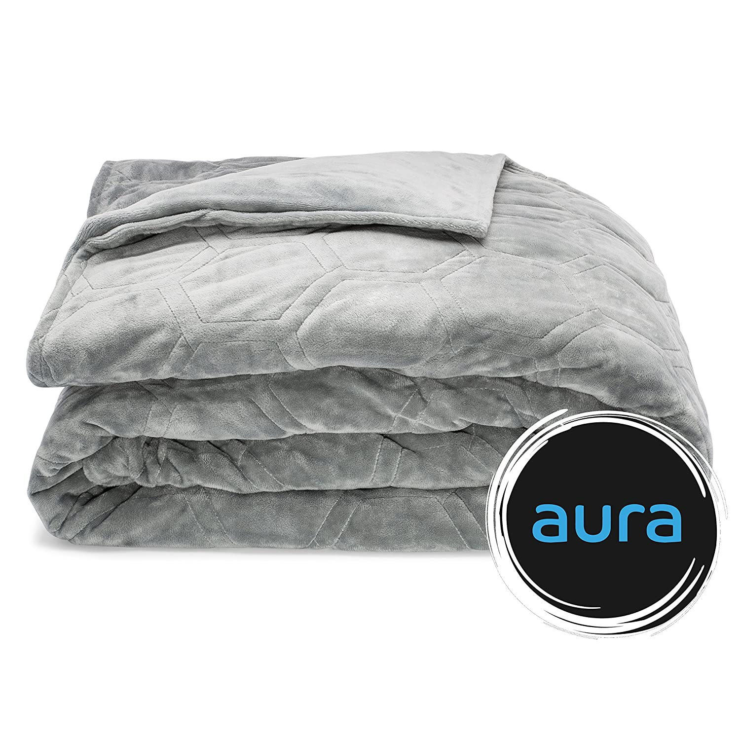 "2-Piece Premium Weighted Gravity Blanket With Removable Cover, AuraGrid Technology, Gray, 60""x80"", 15 lbs 60""x80"" Aura Blankets"