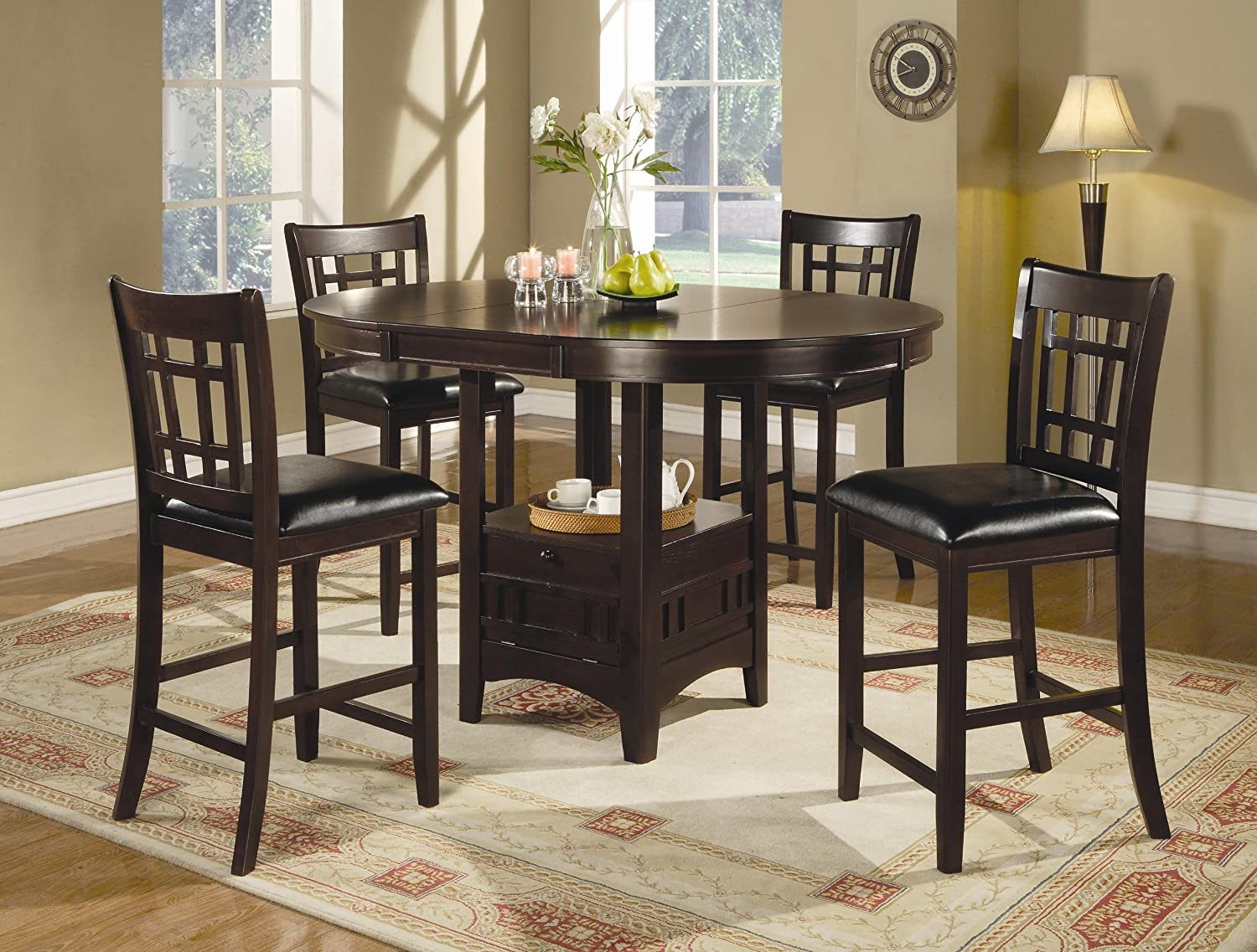 Coaster Home Furnishings Lavon 5-Piece Storage Counter Table Dining Set Espresso and Black