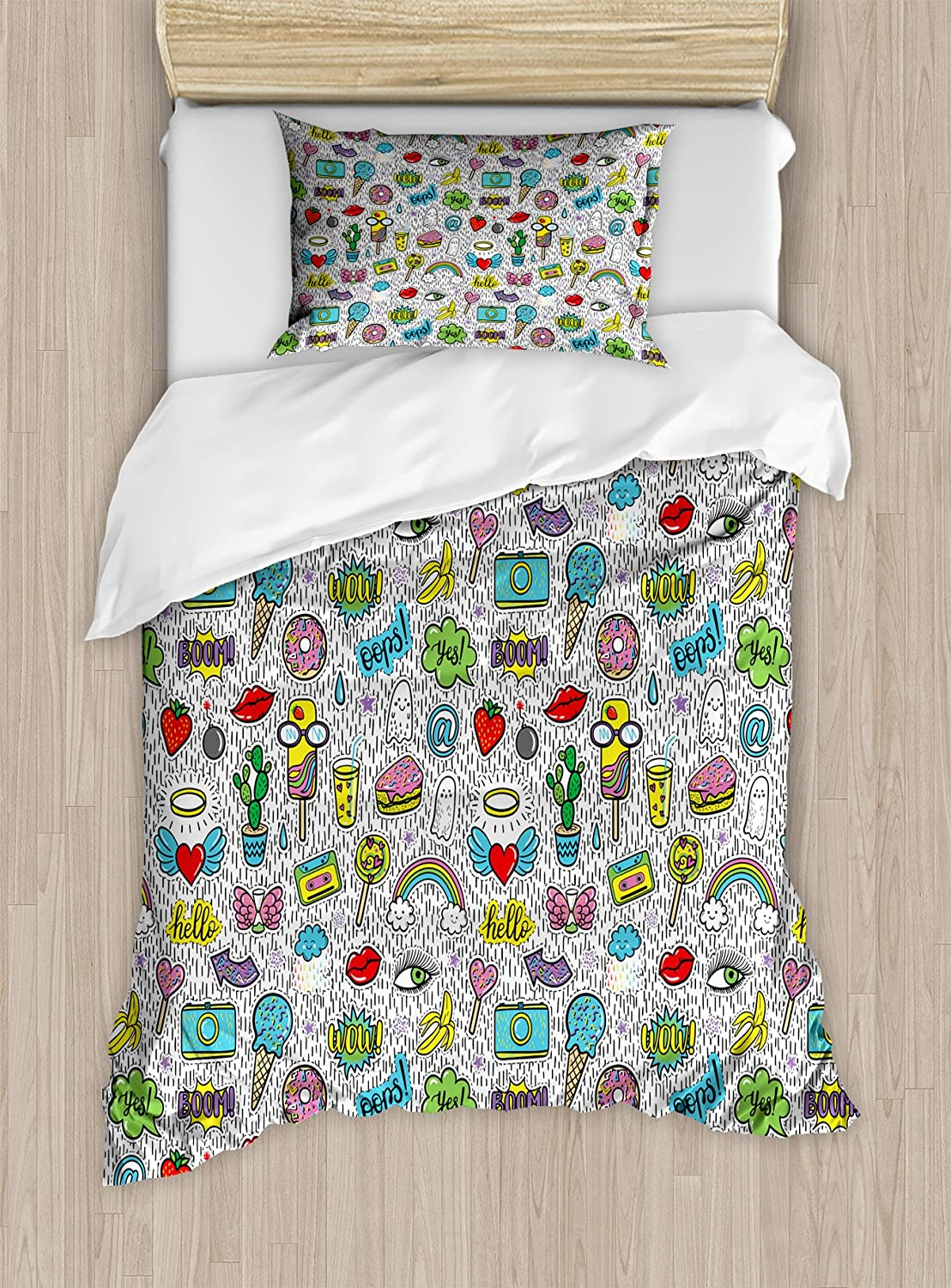Ambesonne Emoji Duvet Cover Set, Pop Art Hand Drawn Cartoon Style Eye Ice Cream Rainbow Donut Lip Heart Banana Ghost, Decorative 2 Piece Bedding Set with 1 Pillow Sham, Twin Size, Grey White