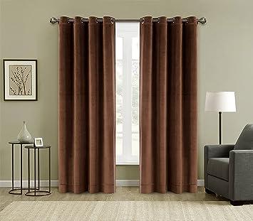 Amazon.com: FirstHomer Solid Matt Heavy Velvet Curtain Drape Panel ...
