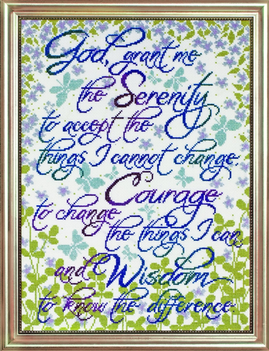 Tobin DW2814 14 Count Counted Cross Stitch Kit Serenity Prayer Floral 12 by 16-Inch