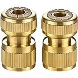 GardenMate - Juego de 2 Conectores de latón para Manguera (13 mm, 1 con y 1 sin función de Parada de Agua)