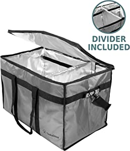 Tadaima Premium Insulated Food Delivery Bag - Large 23x14x15 inches Waterproof Carrier Bag For Catering, Grocery Shopping - Thermal Insulation keeps Food Hot and Cold