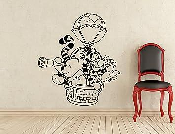 Winnie The Pooh Wall Decal Hot Air Balloon Winnie Pooh Bear Piglet Tigger  Disney Cartoon Vinyl