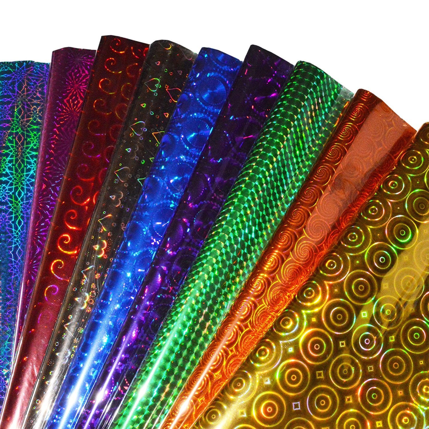 Lakeer Plastic Holographic Metallic Colour Paper Wrapping Sheets Especially for Gifts for Loved, 65cm X 45cm 50-Sheets (Multicolour) product image