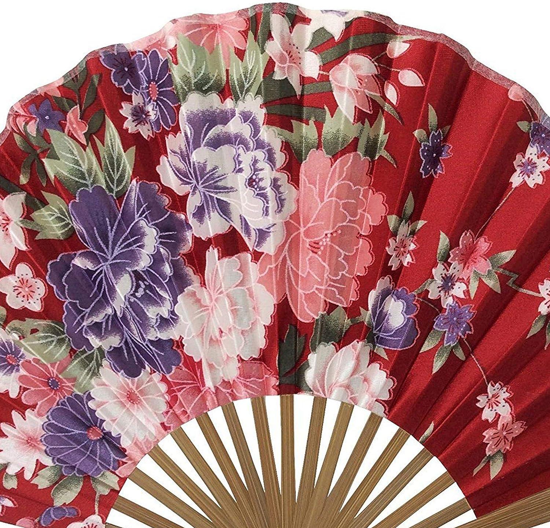 ventilateurs portatifs de style arc-en-ciel pour femmes filles japonais vintage r/étro fan de tissu en soie avec une pochette en tissu assortie mariage danse /église cadeaux de f/ête pour les enseignants AS Ventilateurs portatifs pliants