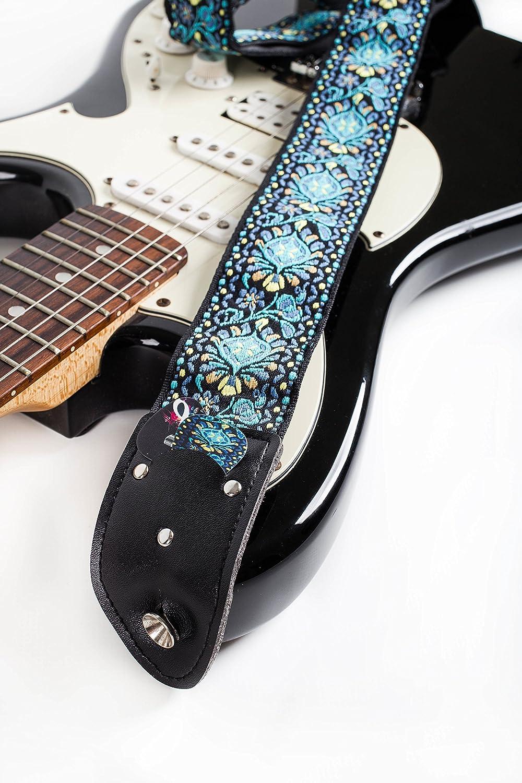 Suitable For Bass Electric /& Acoustic Guitars Adjustable Nylon Woven Jacquard Pick Pocket Guitar Strap Hootenanny Guitar Strap Bundle Includes 2 Strap Locks /& 2 Unique Picks