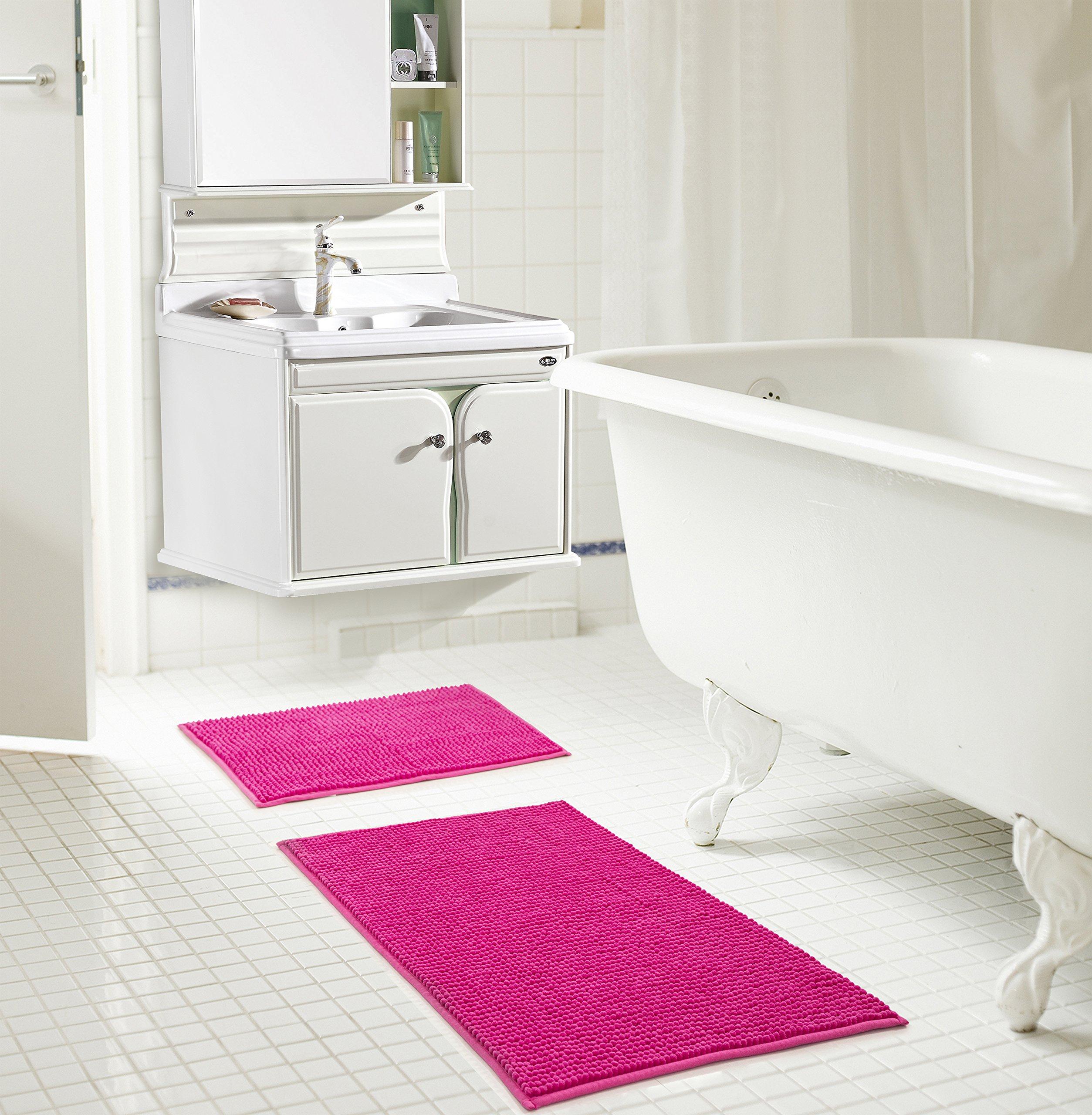 RT Designers Collection Kara Short Pile Chenille 2 Piece Bath Mat Set, 20'' x 32''/17'' x 24'', Fuschia