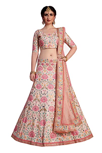 6774111764 MEGHALYA Bridal Collection Peach Art Silk Lehenga choli for women(AD821,  Free size): Amazon.in: Clothing & Accessories