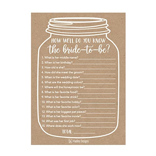 25 cute rustic how well do you know the bride bridal wedding shower or bachelorette party