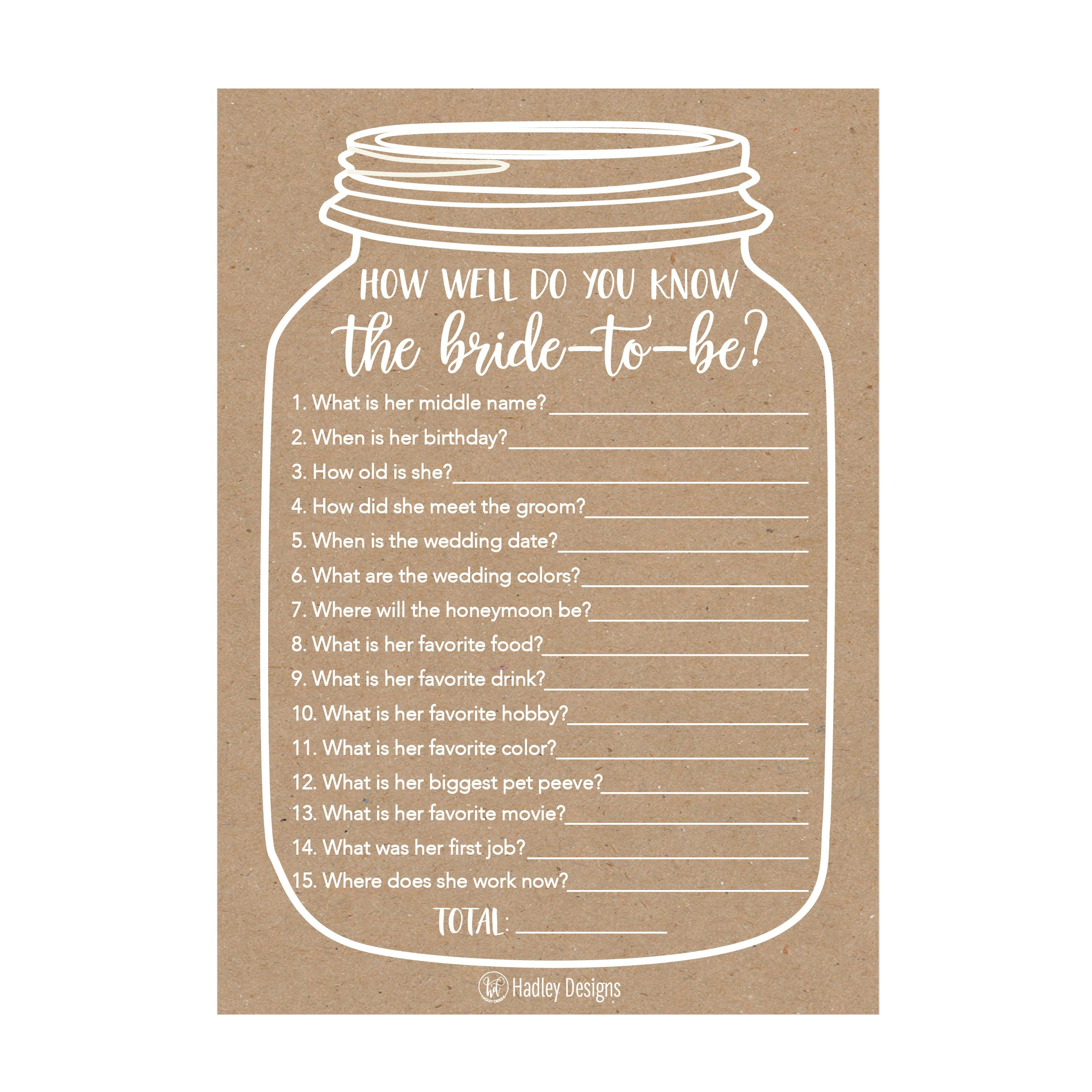 25 Cute Rustic How Well Do You Know The Bride Bridal Wedding Shower or Bachelorette Party Game, Who Knows The Best Does The Groom? Couples Guessing Question Set of Cards Pack Unique Printed Engagement