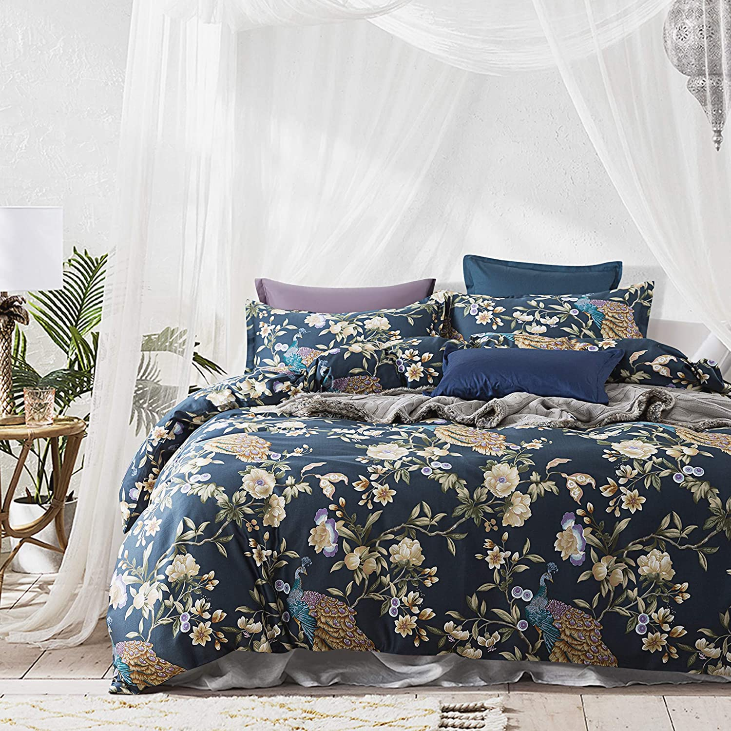 Eikei Oriental Garden Majestic Peacock Bird Floral Duvet Cover Chinoiserie Chic Asian Style Blooming Trees Vines and Branches Long Staple Cotton 3pc Bedding Set (Orion Blue, King)