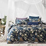 Eikei Oriental Garden Majestic Peacock Bird Floral Duvet Cover Chinoiserie Chic Asian Style Blooming Trees Vines and Branches