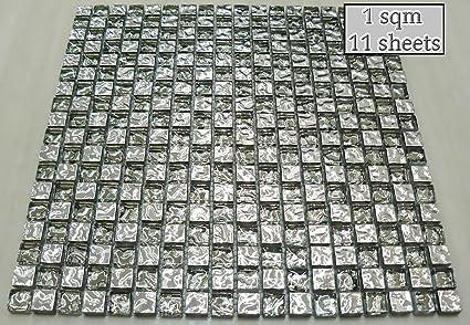 Vetro trasparente e argento mosaico effetto specchio piastrelle