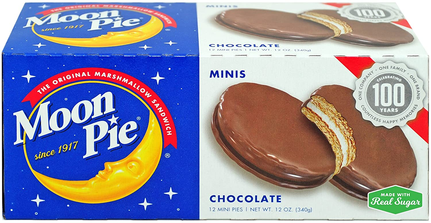 MoonPie Mini Chocolate Marshmallow Sandwich - 1oz, 12Count Box (Pack of 12 Boxes, 144Count Total) | Small Bite Size Chocolate Covered Graham Cracker & Marshmallow Pie