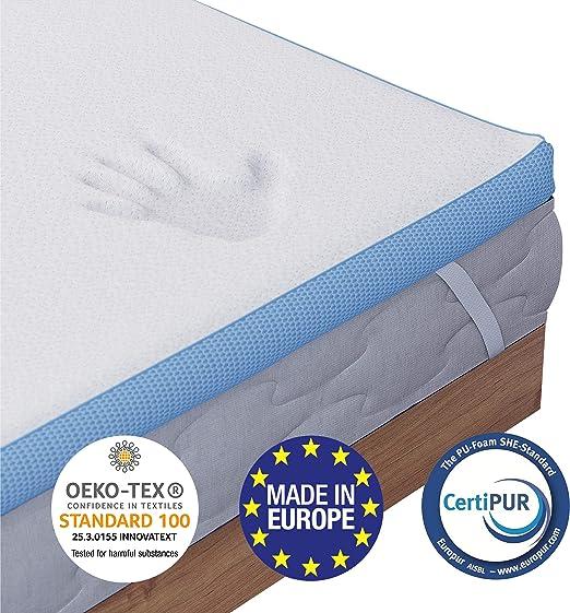 Surmatelas Memoire De Forme Orthopedique 140 X 190 Cm Garanti Sans Produits Chimiques Oeko Tex Topper Ergonomique Fabrique En Europe Pour