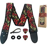 Guitar Strap Cotton Flower Roses W/FREE BONUS- 2 Picks + Strap Locks + Strap Button. For Bass, Electric & Acoustic…