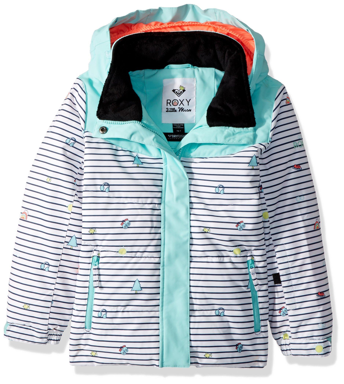 Roxy Little Girls' Anna Miss Snow Jacket, Bright White_Little Miss Strip, 3 by Roxy