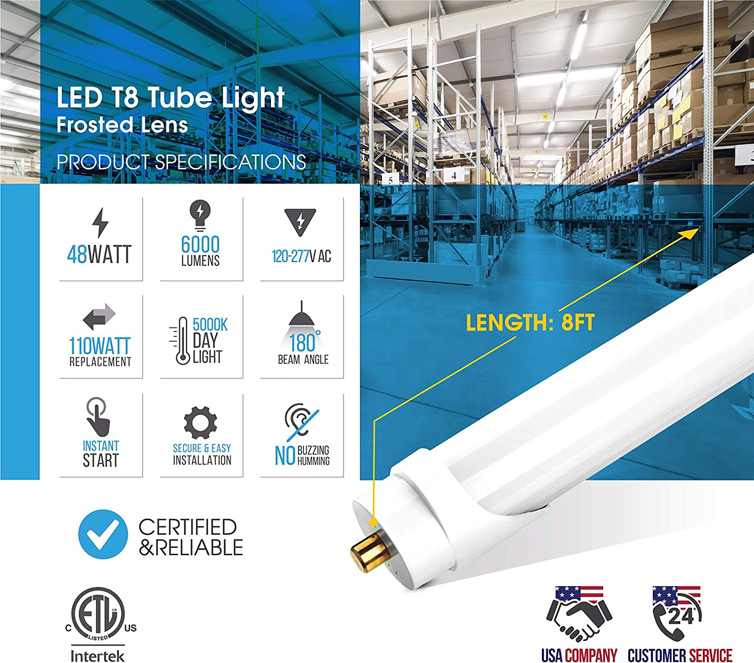 Day Light 10 Pack FA8 Base Shatterproof Frosted 48W 110W Replacement ETL-Listed Parmida LED T8 Light Tube 6000lm T10 T12 8FT Dual-End Powered 5000K FA8 Single Pin Base Bypass Ballast