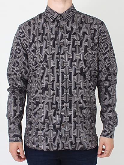 de59754f4e6893 Ted Baker Canarry Deco Striped Shirt - Navy XL Navy  Amazon.co.uk  Clothing