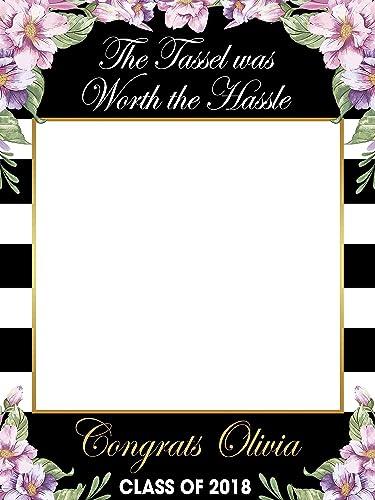 amazon com floral graduation photo prop the tassel was worth the