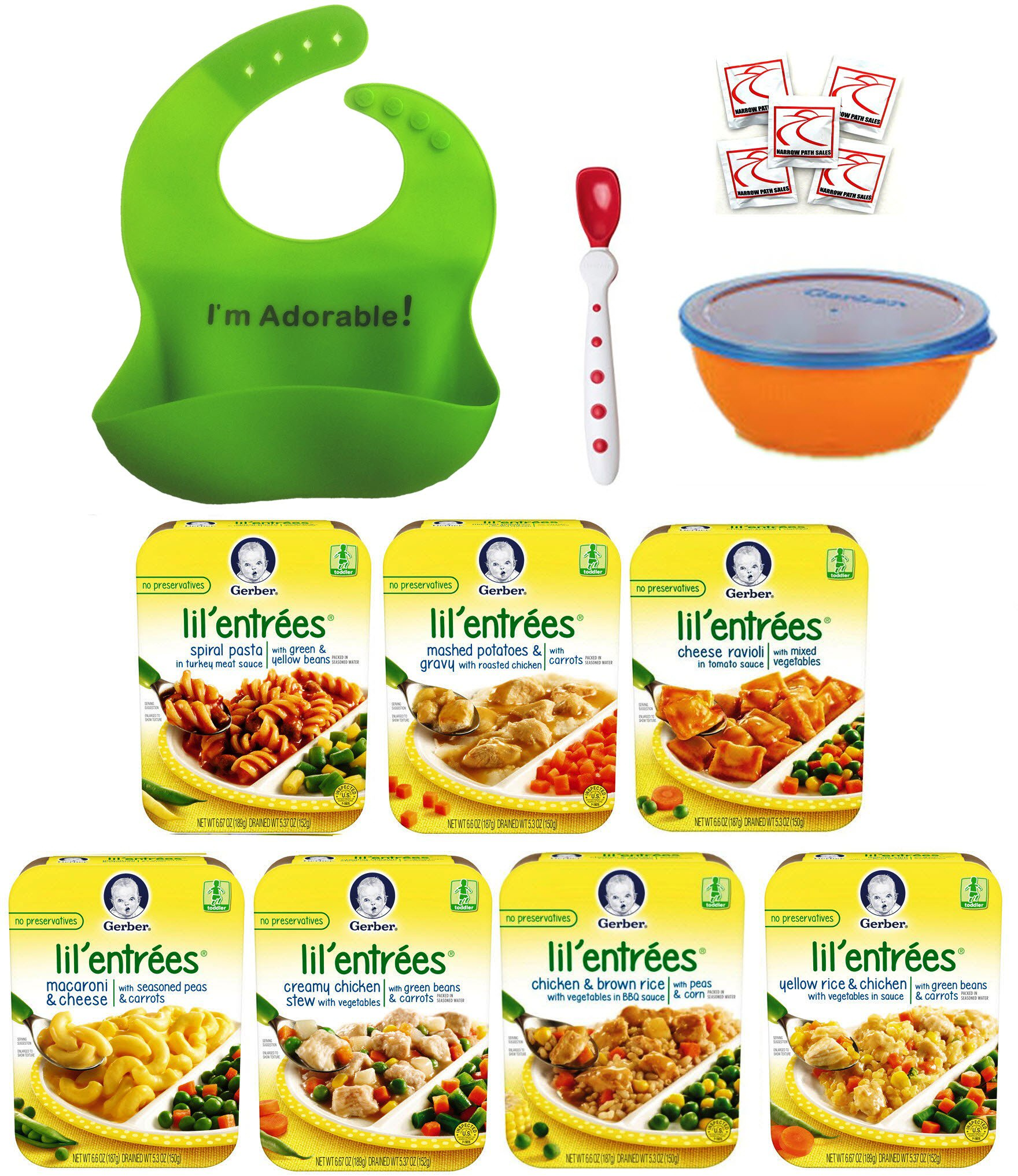 Gerber Graduates Lil Entrees Variety Meal Bundle of 7 flavors 6.6 oz each, Bowl, Spoon and Silicone Bib included. Gift Package Care Package, Baby feeding set by Narrow Path Sales