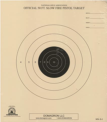 DOMAGRON 50 Foot Slow Fire Pistol Target Official NRA Target B-2